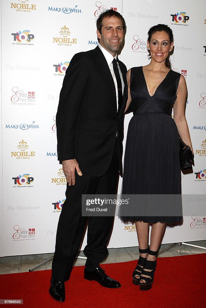 Greg Rusedski (L) and Lucy Rusedski attend The Noble Gift Gala at The Dorchester on March 13, 2010 in London, England.