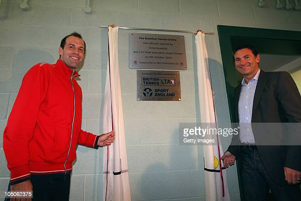 Greg Rusedski and Roger Draper participate in the ceremonial unveiing to declare the new facilities officially open at Stafford Sports College on...