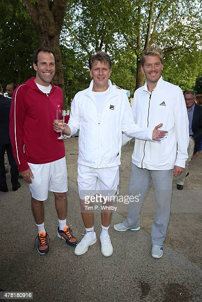 Greg Rusedski Andrew Castle and Thomas Enqvist attend the BNP Paribas Tennis Classic VIP Reception at The Hurlingham Club on June 23 2015 in London...