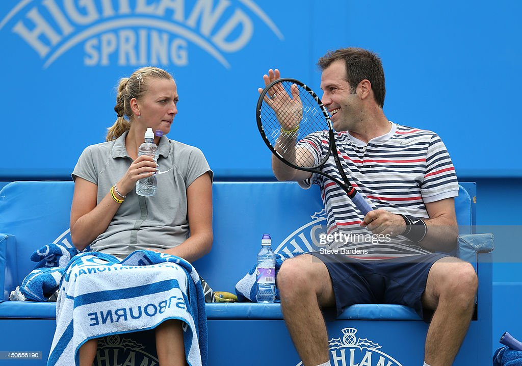Greg Rusedski of Great Britain and Petra Kvitova of the Czech Republic during the Rally for Bally mixed doubles charity match on day two of the Aegon International at Devonshire Park on June 15, 2014 in Eastbourne, England.