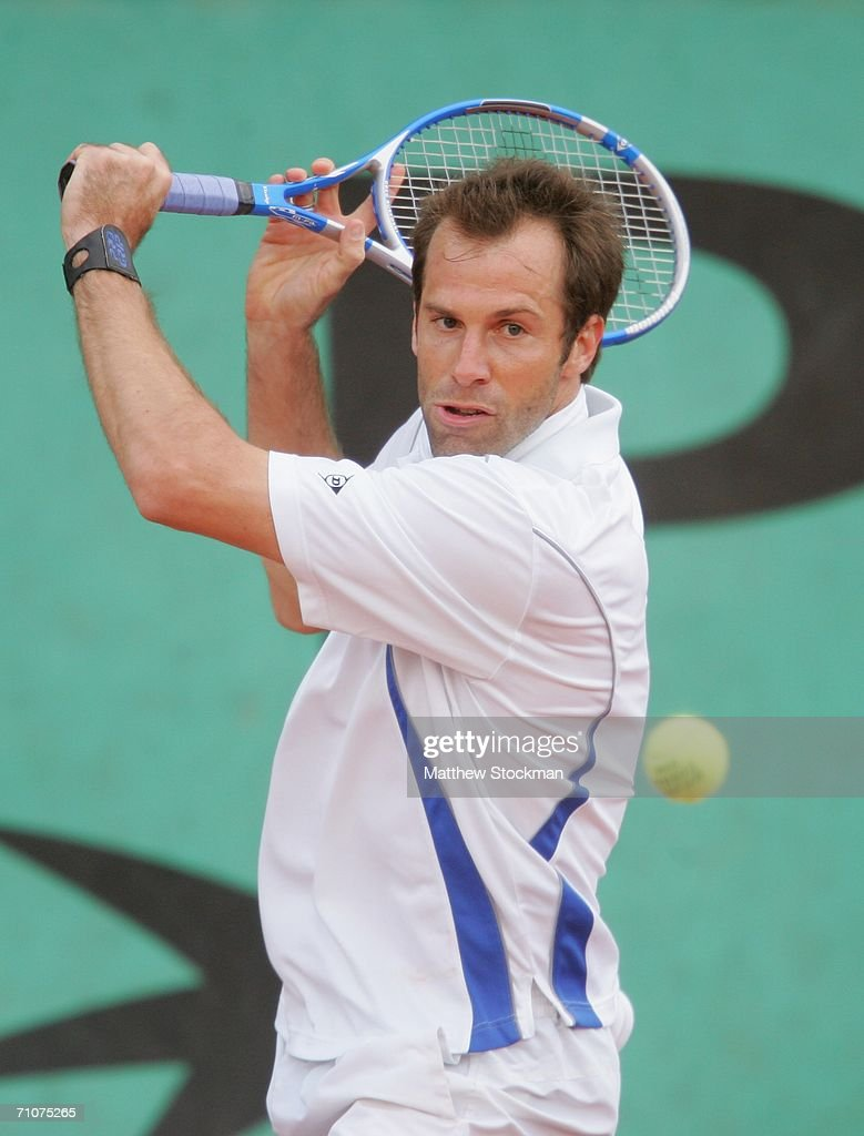 Greg Rusedski of Great Britain in action against Paul Capdeville of Chile during day two of the French Open at Roland Garros on May 29, 2006 in Paris, France.