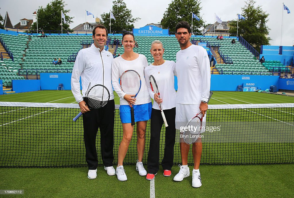 Greg Rusedski of Great Britain, Lindsay Davenport of USA, Rennae Stubbs and Mark Philippoussis of Australia pose on Legends' Day during day two of the AEGON International tennis tournament at Devonshire Park on June 16, 2013 in Eastbourne, England.