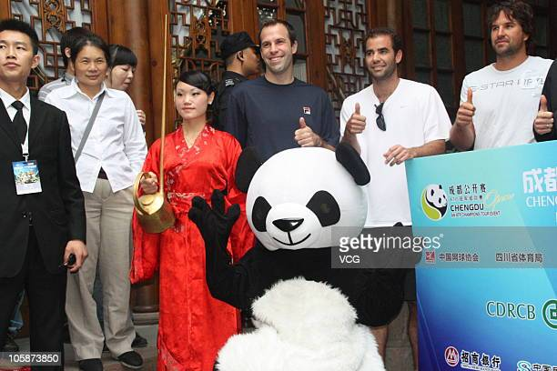 Greg Rusedski, Pete Sampras of United States and Pat Rafter of Australia visit the China Lane before the 2010 Chengdu Open on October 21, 2010 in...