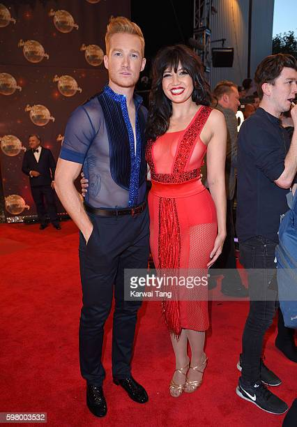 Greg Rutherford and Daisy Lowe arrive for the Red Carpet Launch of 'Strictly Come Dancing 2016' at Elstree Studios on August 30 2016 in Borehamwood...