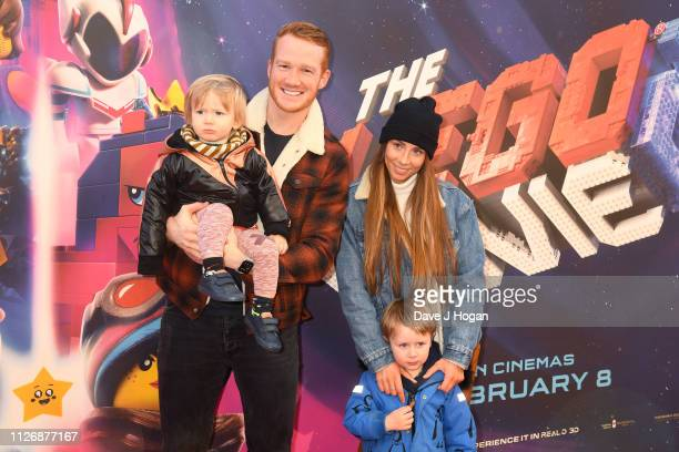 Greg Rutherford and family attend the multimedia screening of The Lego Movie 2 The Second Part at Cineworld Leicester Square on February 02 2019 in...