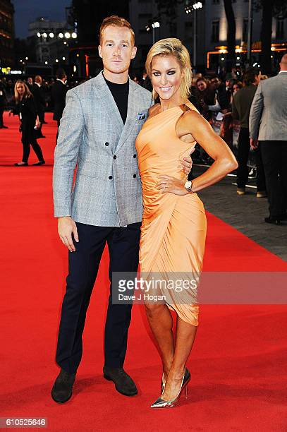 Greg Rutherford and Natalie Lowe attend the European Premiere of 'Deepwater Horizon' at Cineworld Leicester Square on September 26 2016 in London...