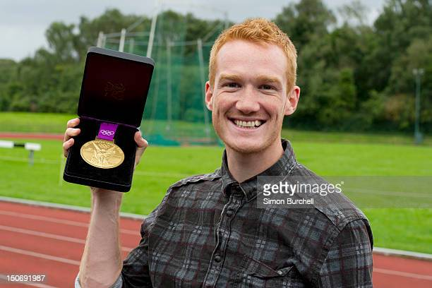 Greg Rutherford attends opportunity for young people to try out athletics under the guideline of qualified UK Athletics coaches at Royal Sutton...