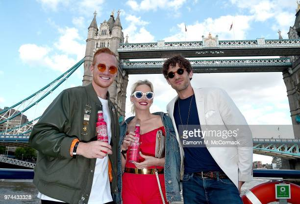 Greg Rutherford Kimberly Wyatt and Max Rogers on board the Bud Boat for the launch party hosted by Budweiser the Official Beer of the 2018 FIFA World...