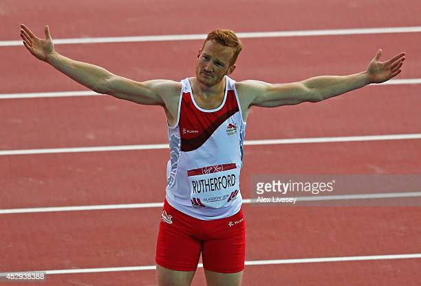 Greg Rutherford of England celebrates after a jump in the Men's Long Jump Final at Hampden Park during day seven of the Glasgow 2014 Commonwealth...