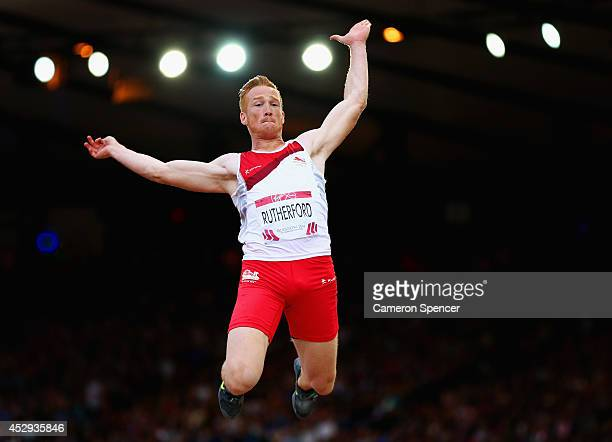Greg Rutherford of England competes in the Men's Long Jump Final at Hampden Park during day seven of the Glasgow 2014 Commonwealth Games on July 30...