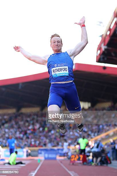 Greg Rutherford of GB competes in the Men's Long Jump during the IAAF Diamond League meeting at Alexander Stadium on June 5 2016 in Birmingham England