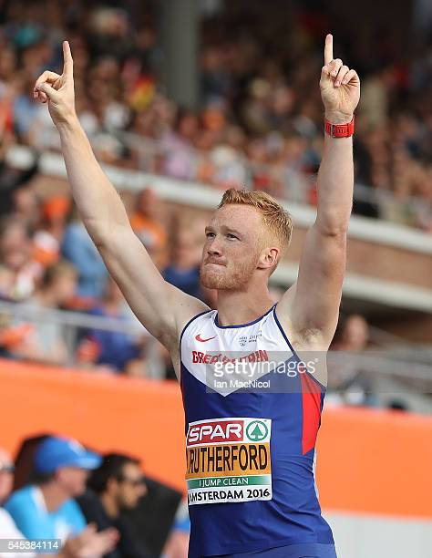 Greg Rutherford of Great Britain after he wins the Men's Long Jump during Day Two of The European Athletics Championships at Olympic Stadium on July...