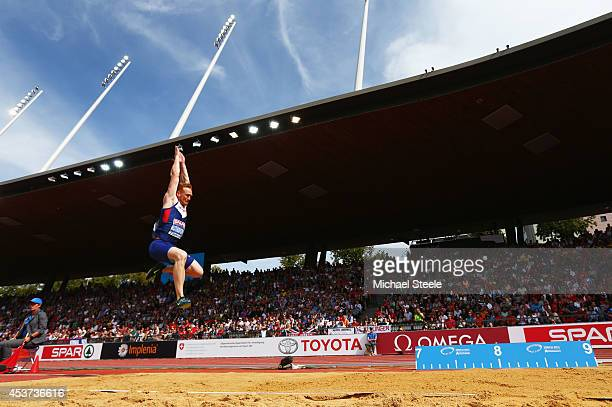 Greg Rutherford of Great Britain and Northern Ireland competes in the Men's Long Jump final during day six of the 22nd European Athletics...