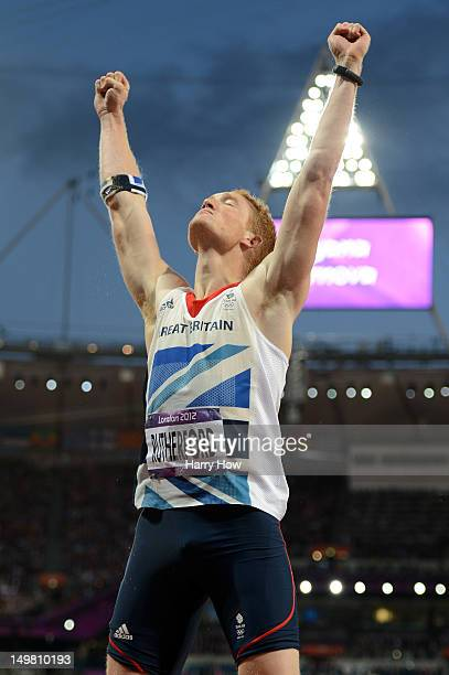 Greg Rutherford of Great Britain ceelbrates winning gold in the Men's Long Jump Final on Day 8 of the London 2012 Olympic Games at Olympic Stadium on...