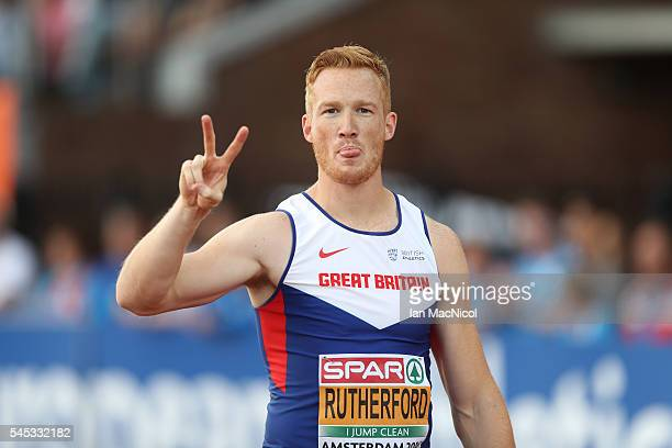 Greg Rutherford of Great Britain celebrates after he wins the Men's Long Jump during Day Two of The European Athletics Championships at Olympic...