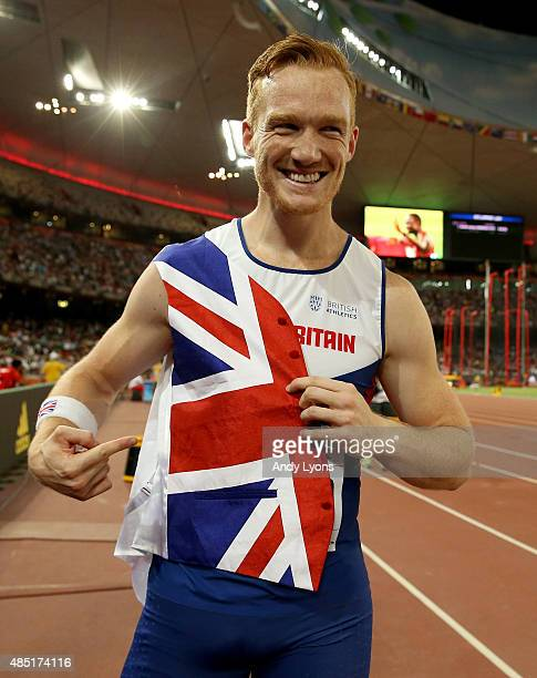 Greg Rutherford of Great Britain celebrates after winning gold in the Men's Long Jump final during day four of the 15th IAAF World Athletics...