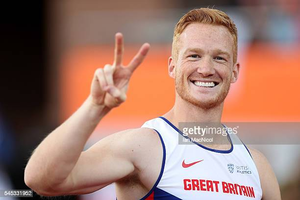 Greg Rutherford of Great Britain celebrates winning gold in the final of the mens long jump on day two of The 23rd European Athletics Championships...