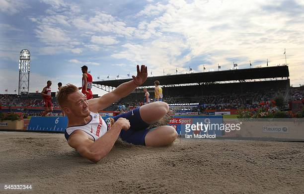 Greg Rutherford of Great Britain competes in the final of the Men's Long Jump during Day Two of The European Athletics Championships at Olympic...
