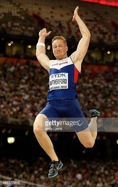 Greg Rutherford of Great Britain competes in the Men's Long Jump final during day four of the 15th IAAF World Athletics Championships Beijing 2015 at...