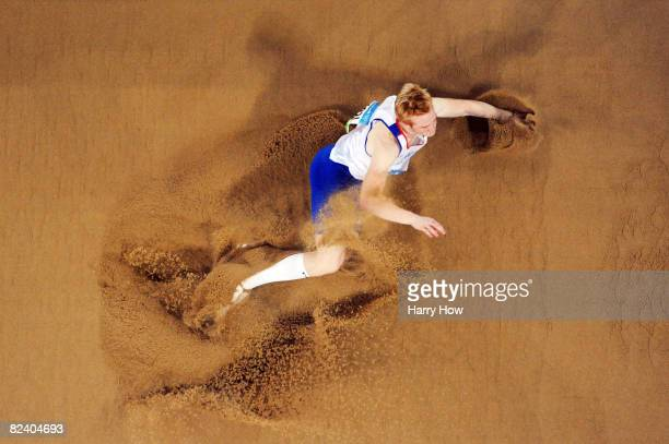Greg Rutherford of Great Britain competes in the Men's Long Jump Final at the National Stadium on Day 10 of the Beijing 2008 Olympic Games on August...