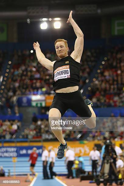 Greg Rutherford of Great Britain in action during the men's long jump during the Sainsbury's Indoor Grand Prix at the NIA Arena on February 15 2014...