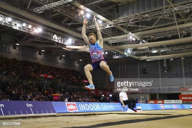 Greg Rutherford of Great Britain in action during the men's long jump during the Muller Indoor Grand Prix at Emirates Arena on February 25, 2018 in...