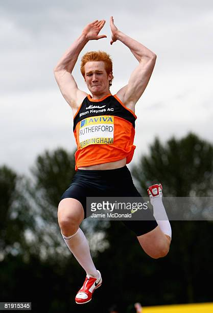 Greg Rutherford of Great Britain jumps during the Long Jump final during the Aviva National Championships Olympic Trials at Alexander Stadium on July...
