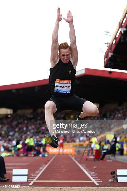 Greg Rutherford of Great Britain jumps in the Men's Long Jump during the Sainsbury's Birmingham Grand Prix Diamond League event at Alexander Stadium...
