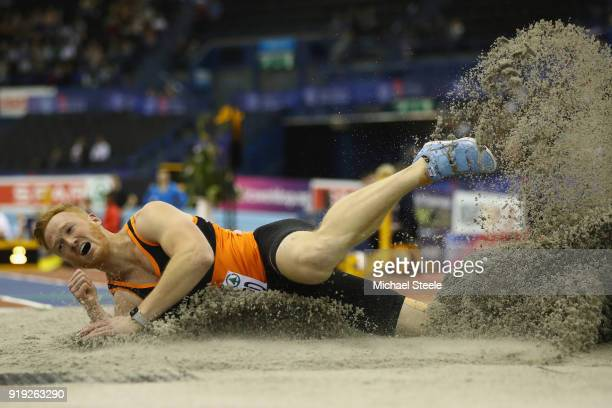 Greg Rutherford of Marshall Milton Keynes competes in the men's long jump final during day one of the SPAR British Athletics Indoor Championships at...