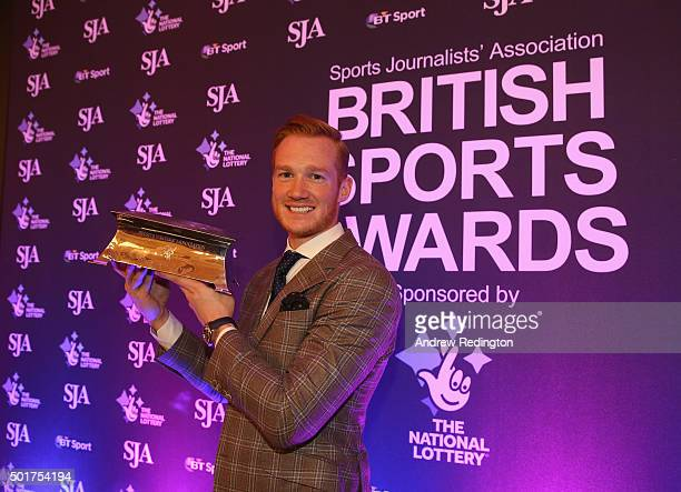 Greg Rutherford poses with his trophy after winning the Sportsman of the Year award at the SJA British Sports Awards 2015 at Grand Connaught Rooms on...