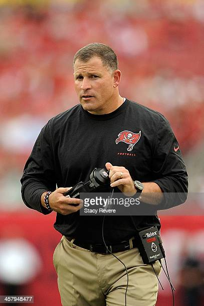 Greg Schiano head coach of the Tampa Bay Buccaneers watches action during a game against the San Francisco 49ers at Raymond James Stadium on December...
