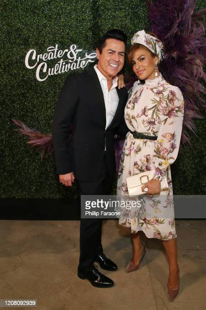 Greg Scott and Eva Mendes attend Create Cultivate Los Angeles at Rolling Greens Los Angeles on February 22 2020 in Los Angeles California