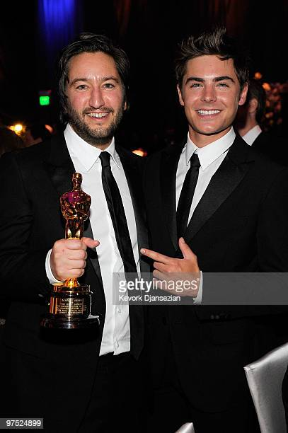 Greg Shapiro winner of Best Producer for Hurt Locker and Zac Efron attends the 82nd Annual Academy Awards Governor's Ball held at Kodak Theatre on...