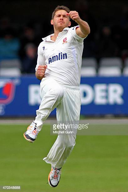 Greg Smith of Essex celebrates taking the wicket of Sam Billings of Kent during the LV County Championship match at the Essex County Cricket Ground...