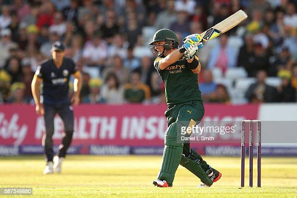 Greg Smith of Notts bats during the NatWest T20 Blast match between Notts Outlaw and Essex Eagles at Trent Bridge on August 8 2016 in Nottingham...