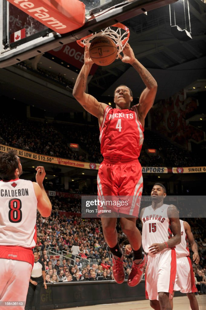 Greg Smith #4 of the Houston Rockets goes to the basket during the game between the Toronto Raptors and the Houston Rockets December 16, 2012 at the Air Canada Centre in Toronto, Ontario, Canada.