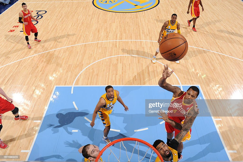 Greg Smith #4 of the Houston Rockets puts up a shot against the Denver Nuggets on April 6, 2013 at the Pepsi Center in Denver, Colorado.