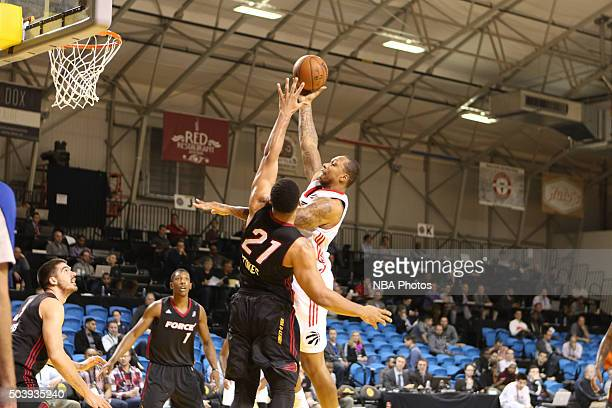 CRUZ CA JANUARY 7 Greg Smith of the Raptors lays the ball up over the Sioux Falls Skyforce defense during an NBA DLeague game on JANUARY 7 2016 in...