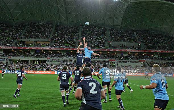 Greg Somerville of the Rebels throws the ball into a lineout during the round one Super Rugby match between the Melbourne Rebels and the Waratahs at...
