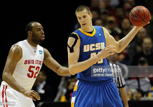 Greg Somogyi of the UC Santa Barbara Gauchos posts up Dallas Lauderdale of the Ohio State Buckeyes during the first round of the 2010 NCAA men's...