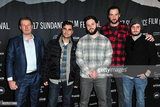 Greg Stewart Adam Bhala Lough Cody Wilson Brent Stiefel and Alex Needles arrive at the 'The New Radical' Premiere at Temple Theater on January 23...