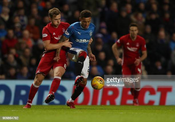 Greg Stewart of Aberdeen vies with James Tavernier of Rangers during the Ladbrokes Scottish Premiership match between Rangers and Aberdeen at Ibrox...