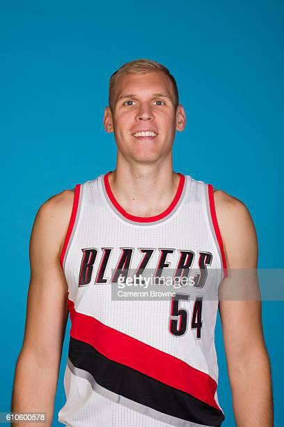 Greg Stiemsma of the Portland Trail Blazers poses for a headshot during the 20162017 Portland Trail Blazers media day on September 26 2016 at the...