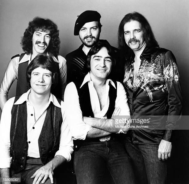 Greg Straub Dale Perkins Bobby Delander JJ Jackson Wayne Perkins of the rock and roll band Crimson Tide pose for a portrait in 1976