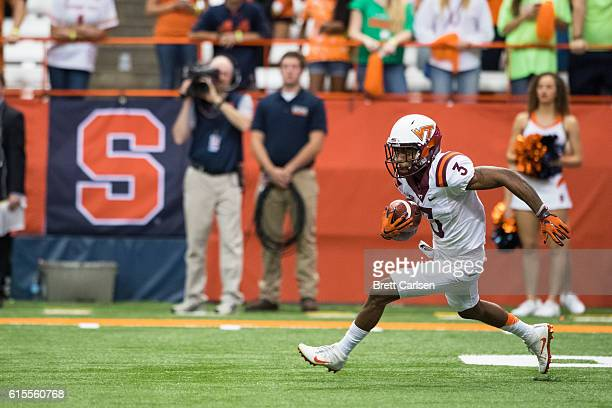 Greg Stroman of the Virginia Tech Hokies returns a kick during the second half against the Syracuse Orange on October 15 2016 at The Carrier Dome in...