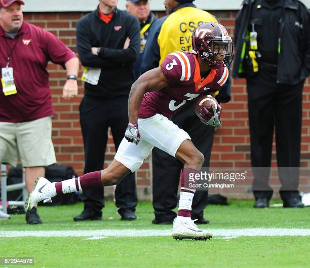 Greg Stroman of the Virginia Tech Hokies returns an interception for a touchdown against the Georgia Tech Yellow Jackets on November 11 2017 at Bobby...