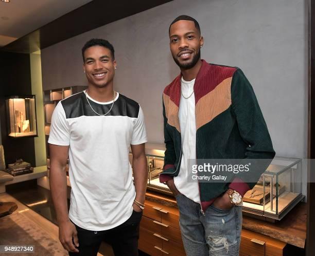 Greg Tarzan Davis and Kendall Kendall attend the Justin Turner Beverly Hills Event at David Yurman on April 19 2018 in Beverly Hills California