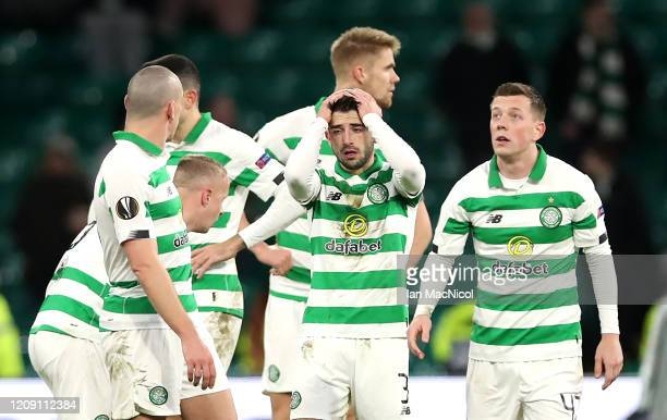 Greg Taylor of Celtic reacts at full-time during the UEFA Europa League round of 32 second leg match between Celtic FC and FC Kobenhavn at Celtic...