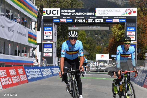 Greg Van Avermaet and Xandro Meurisse of Belgium during the Road Race training at the 91st UCI Road World Championships 2018 / RR / RWC / on...