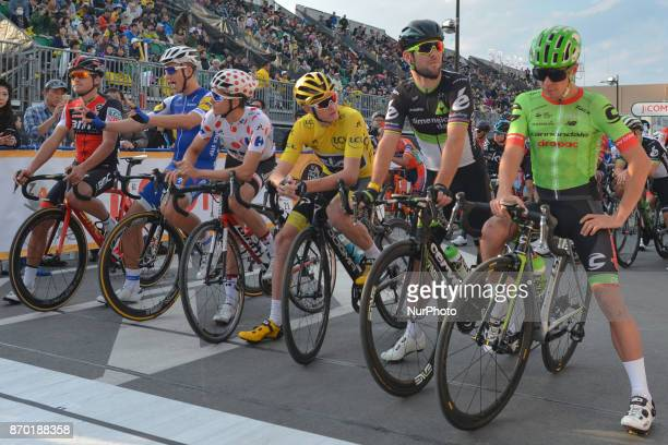 Greg VAN AVERMAET Marcel KITTEL Warren BARGUIL Christopher FROOME Mark CAVENDISH and Rigoberto URAN at the start to the 589km Main Race during the...